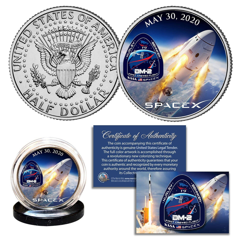"""SpaceX"" - Authentic JFK Half Dollar - Proud Patriots"