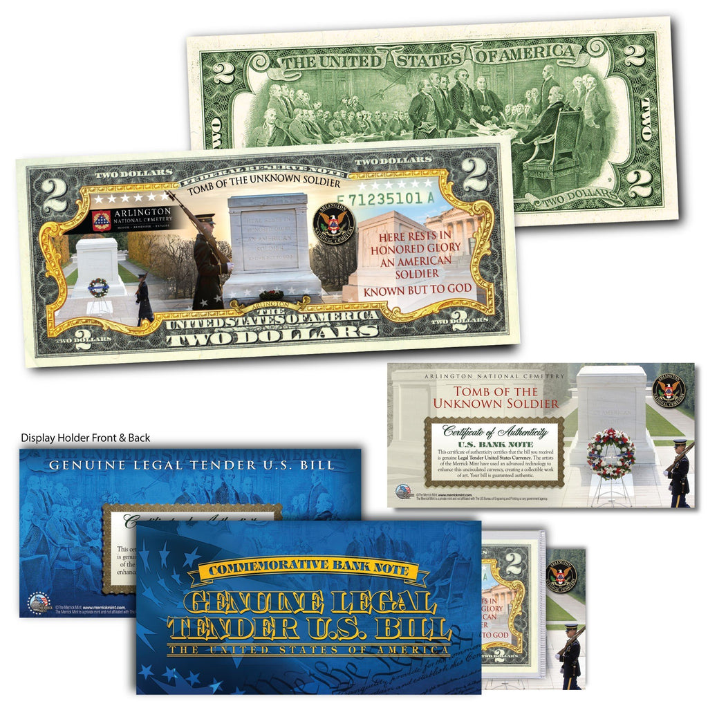 """Tomb Of The Unknown"" - Genuine Legal Tender U.S. $2 Bill - Proud Patriots"