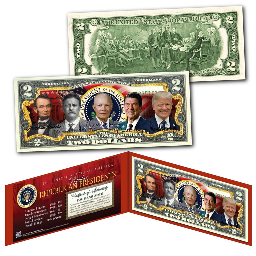 """Top Republican Presidents"" - Genuine Legal Tender U.S. $2 Bill - Proud Patriots"