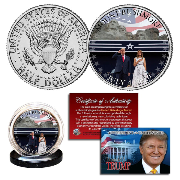 """Trump & Melania - Mt. Rushmore"" - Authentic JFK Half Dollar - Proud Patriots"