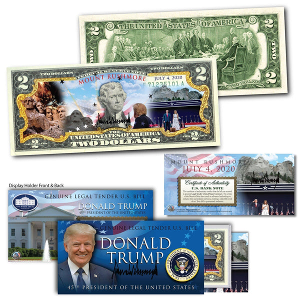"""Trump & Melania - Mt. Rushmore July 4th"" - Genuine Legal Tender U.S. $2 Bill - Proud Patriots"