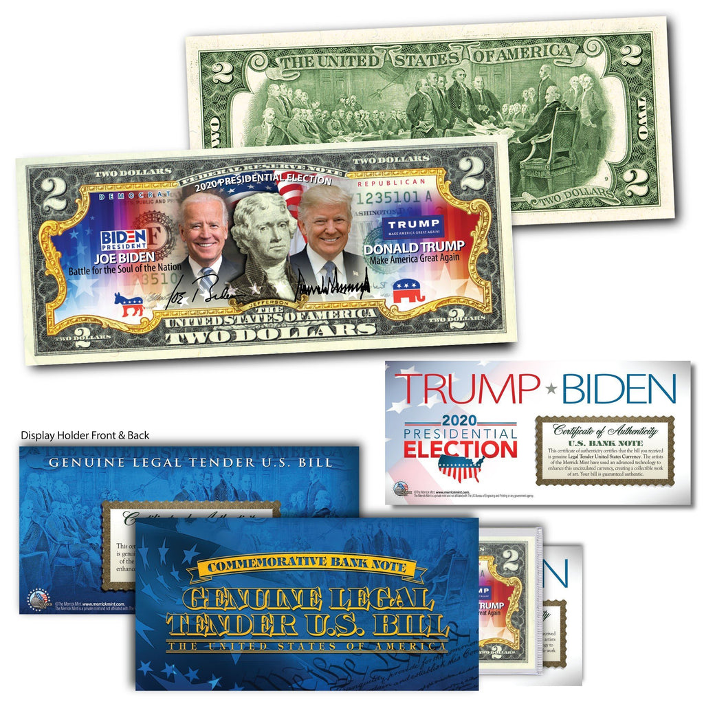 """Trump vs. Biden"" - Genuine Legal Tender U.S. $2 Bill - Proud Patriots"