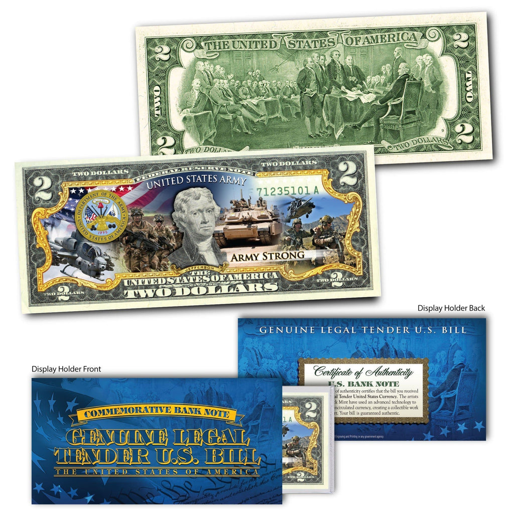 'U.S Army' - Genuine Legal Tender U.S. $2 Bill - Proud Patriots