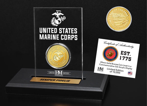 U.S. Marines Bronze Mint Coin in Acrylic Display - Proud Patriots