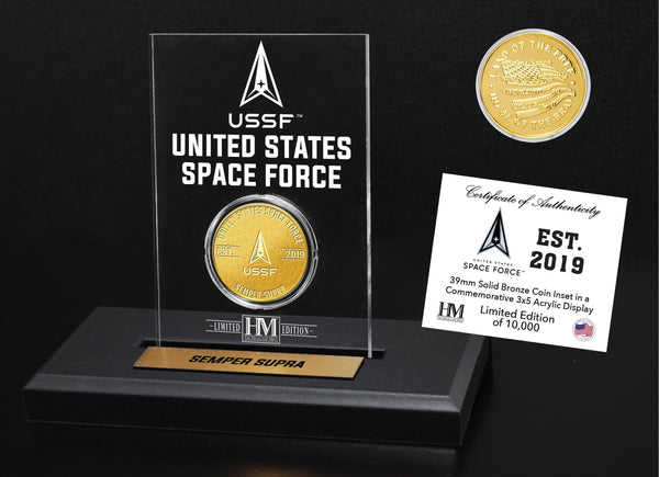 U.S. Space Force Bronze Mint Coin in Acrylic Display - Proud Patriots