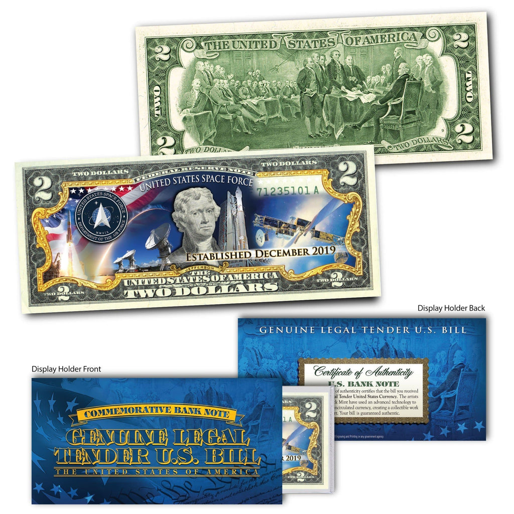 'U.S Space Force' - Genuine Legal Tender U.S. $2 Bill - Proud Patriots