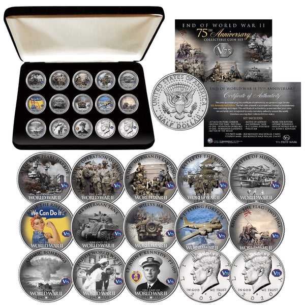 """WWII 75th Anniversary "" Authentic JFK Half Dollar 15-coin set - Proud Patriots"