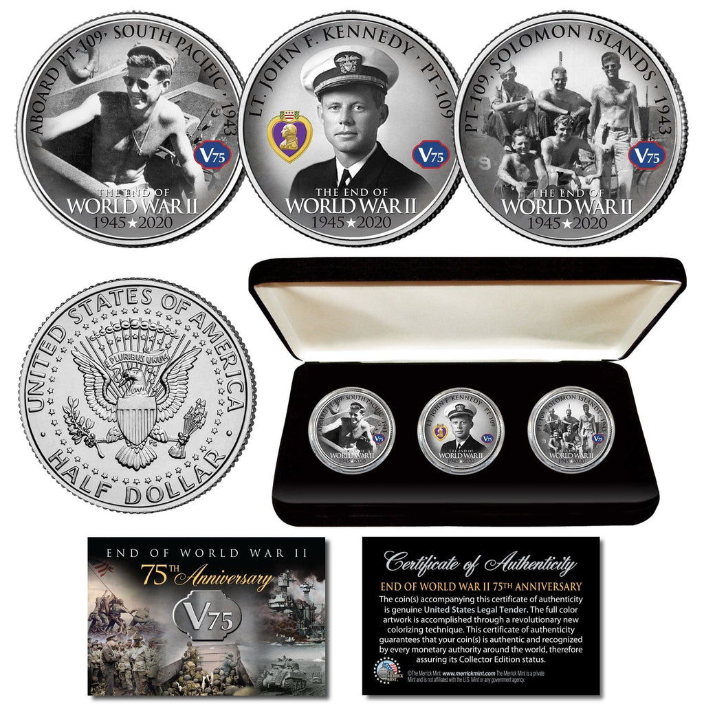 """WWII 75th Anniversary - John F. Kennedy"" Authentic JFK Half Dollar 3-coin set - Proud Patriots"