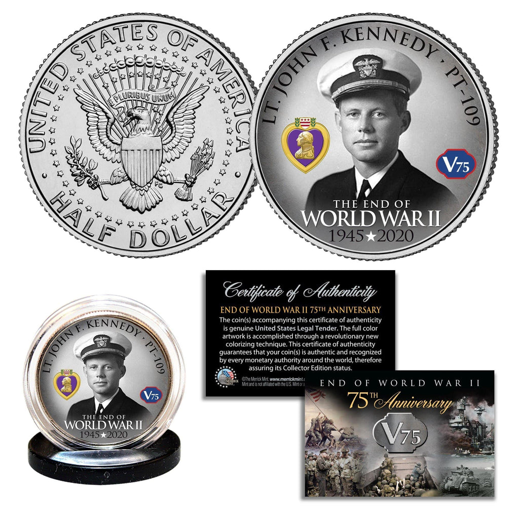 """WWII 75th Anniversary - John Kennedy"" Authentic JFK Half Dollar - Proud Patriots"