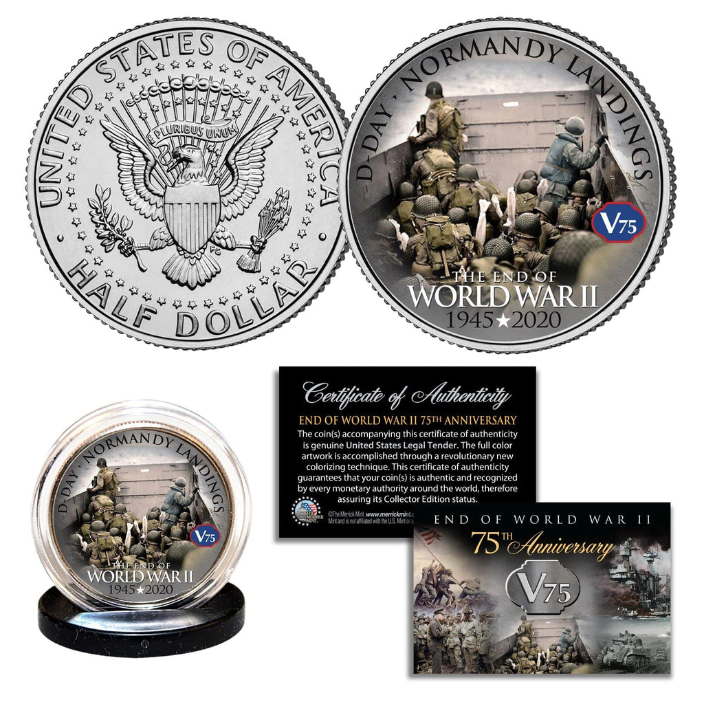 """WWII 75th Anniversary - Normandy Landings D-Day"" Authentic JFK Half Dollar - Proud Patriots"