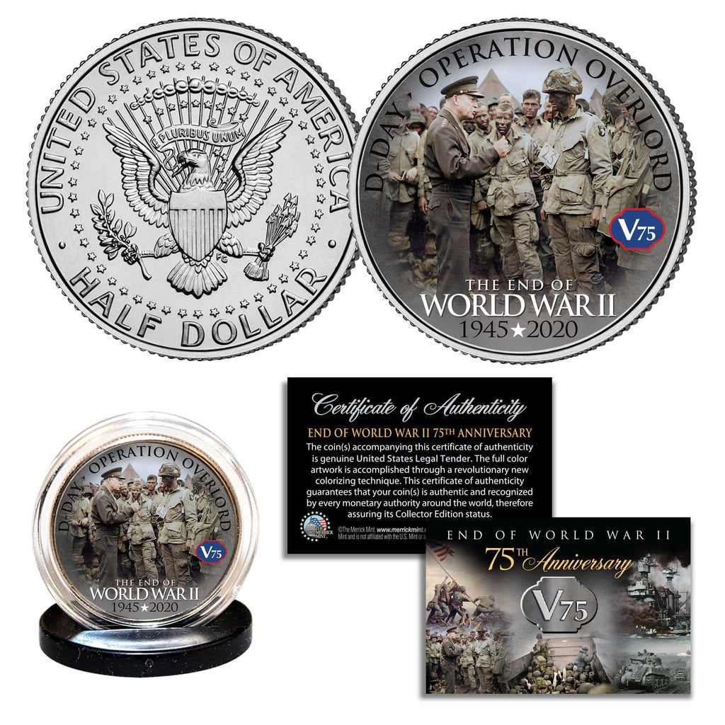 """WWII 75th Anniversary - Operation Overload"" Authentic JFK Half Dollar - Proud Patriots"