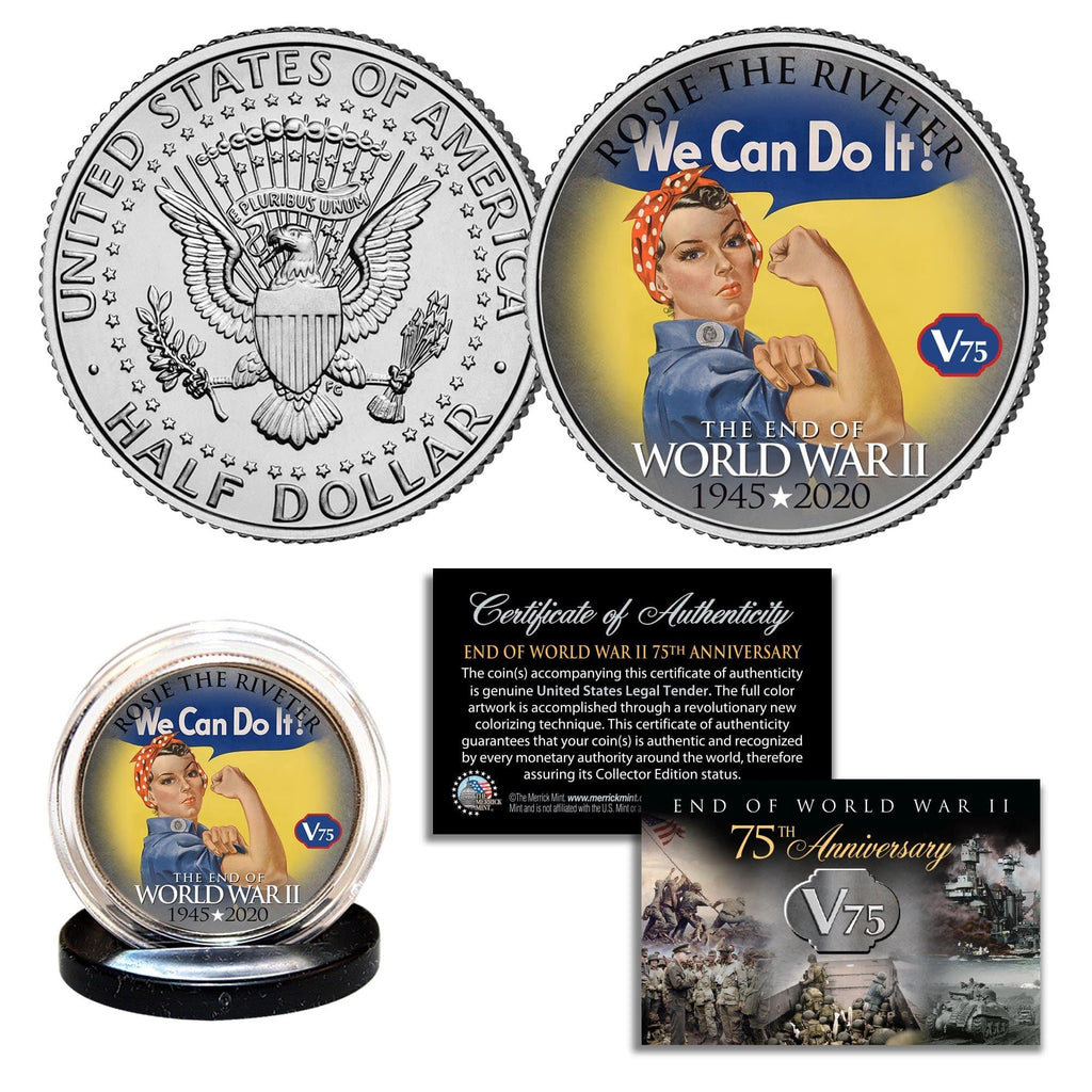 """WWII 75th Anniversary - Rosie The Riveter"" Authentic JFK Half Dollar - Proud Patriots"