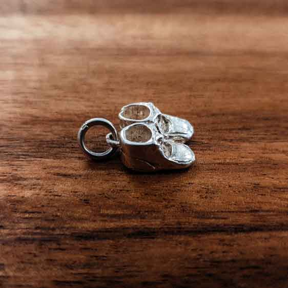 Silver Pair of Baby Boots charm