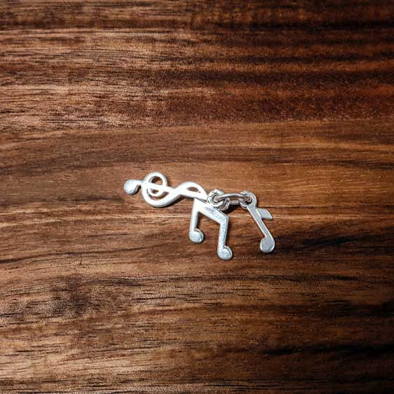 Silver Bunch of Music Notes, Treble Clef, Quaver, Eighth Note charm