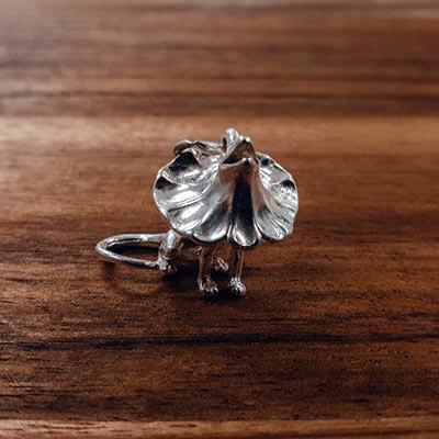 Silver Frilled Neck Lizard charm