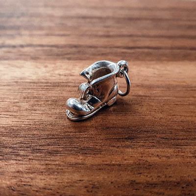 Silver Old Boot charm