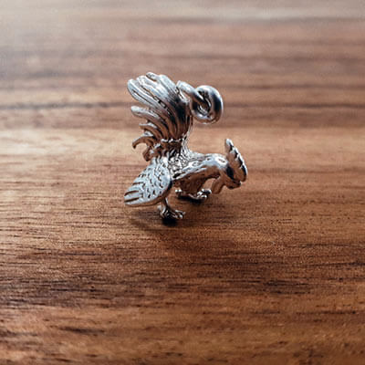 Silver Rooster charm