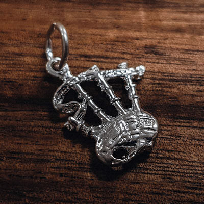 Silver Bagpipes charm