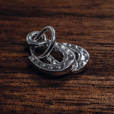 Silver Double Horse Shoe charm