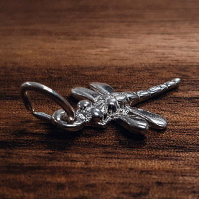 Silver Dragonfly straight tail charm