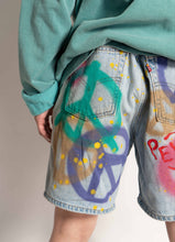 "Load image into Gallery viewer, ""PEACE"" 1 OF 1 DENIM SHORTS"