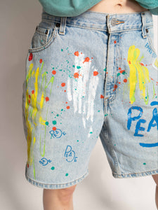 """PEACE"" 1 OF 1 DENIM SHORTS"