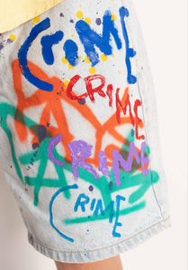 """CRIME PAYS"" 1 OF 1 DENIM SHORTS"