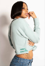 "Load image into Gallery viewer, ""GRIMEY IS BEAUTIFUL"" CROP CREWNECK"
