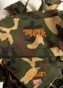"""PRISONER OF WAR"" CAMO BOOKBAG"