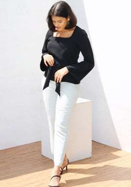 Flared sleeve square neck top