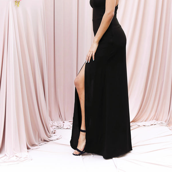 Low back double slit dress
