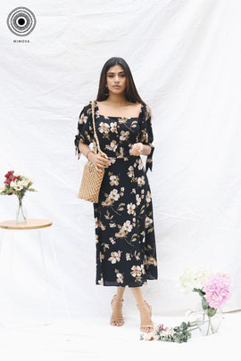 Printed square neck maxi dress