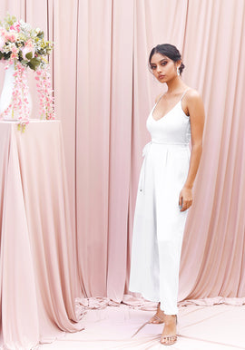 Wide leg satin jumpsuit