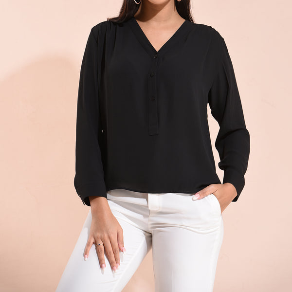 'V' NECK BUTTON DETAILD FULL SLEEVE TOP