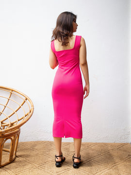 Round Neck Scuba Body-con Dress