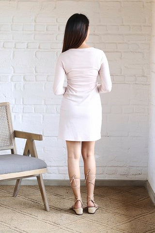 Deep neck flared mini dress