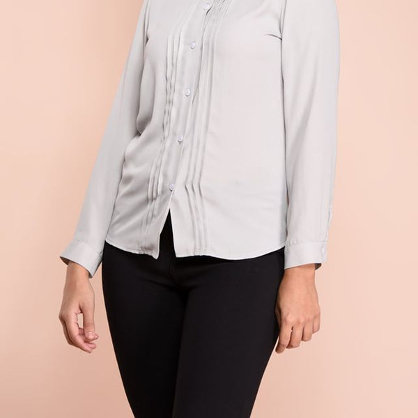 PINTUCK DEATAILD MANDARIN COLLAR FULL SLEEVE BLOUSE