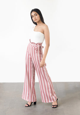 High waist striped flared pants