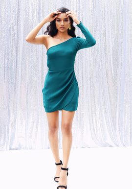 One Shoulder Draped Mini Dress