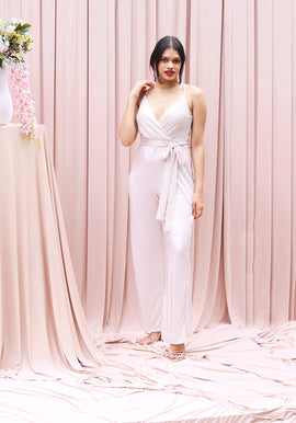 Mock Wrap Tie Up Jumpsuit