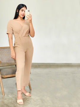 SHORT SLEEVE MOCK WRAP JUMPSUIT