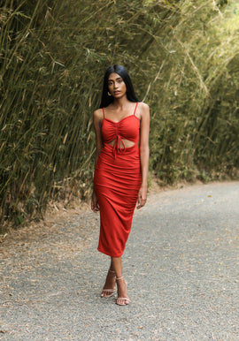 Ruch detailed midi dress