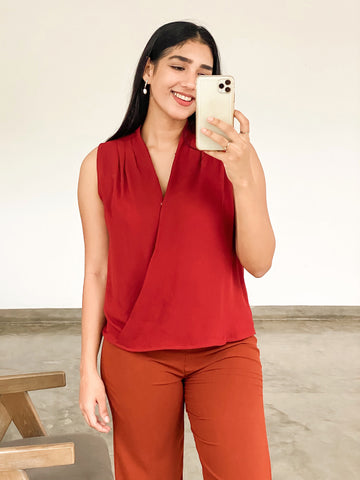 Sleeveless Pleat Wrap Top