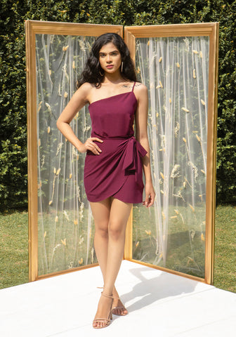 One shoulder paneled dress