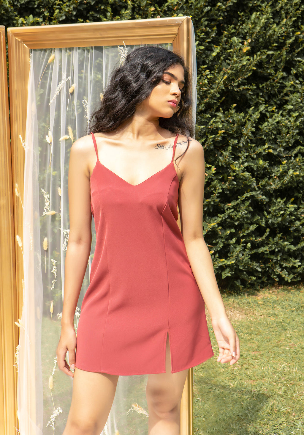 Panelled mini dress