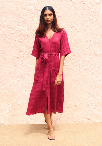 Flared sleeve checked midi dress