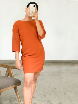 Mid sleeve shift dress