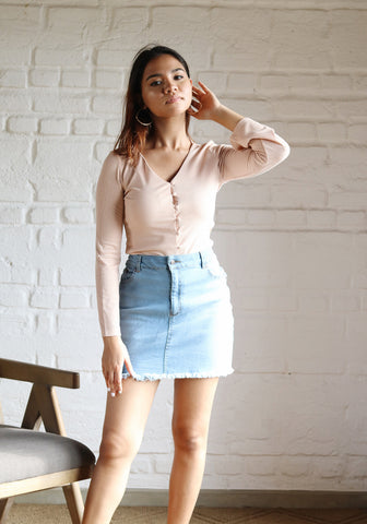 Button-down flared sleeve top