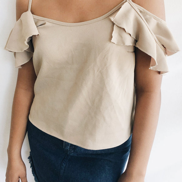 Ruffle Sleeved Crop Top