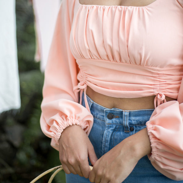 Balloon Sleeved  Front Ruched Crop Top